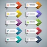 Uppsättning av infographic pilar med affärsmarknadsföringssymboler Arkivfoto