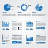 Uppsättning av infographicsbeståndsdelar blåa färger Arkivbild