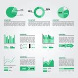 Uppsättning av infographicsbeståndsdelar Gröna färger Arkivfoton