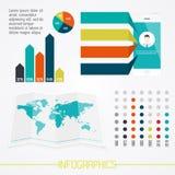 Uppsättning av infographicsbeståndsdelar i modern plan affärsstil Arkivbild