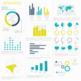 Uppsättning av infographicsbeståndsdelar i modern plan affärsstil Arkivfoto