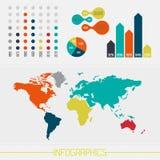 Uppsättning av infographicsbeståndsdelar i modern plan affärsstil Royaltyfria Bilder