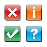 Uppsättning av informationssymboler, vektorillustration Arkivbild