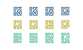 Uppsättning av initial B Logo Vector royaltyfri illustrationer