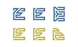 Uppsättning av initial E Logo Vector Arkivbild