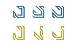 Uppsättning av initial J Logo Vector Arkivbild