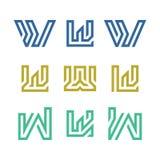 Uppsättning av initial W Logo Vector vektor illustrationer