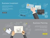 Uppsättning av innehållet för website av den affärsplanläggningen och investeringen Arkivfoto