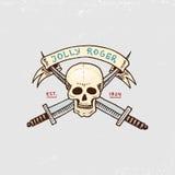 Uppsättning av inristat, hand som dras som är gammal, etiketter eller emblem för sjörövare, skalle jolly roger Piratkopierar mari stock illustrationer