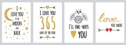 Uppsättning av inspirerande och romantiska kort som göras i sparklreguld och svart färg vektor illustrationer