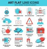 Uppsättning av internetteknologier och säkerhetssymboler Royaltyfri Foto