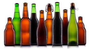 Uppsättning av isolerade ölflaskor royaltyfri fotografi