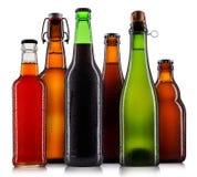 Uppsättning av isolerade ölflaskor royaltyfria bilder