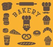 Uppsättning av isolerade bagerilägenhetbeståndsdelar - bagarepersonen, hatten för kock` s, mustaschen, bröd, bagett, släntrar, ka Arkivfoto
