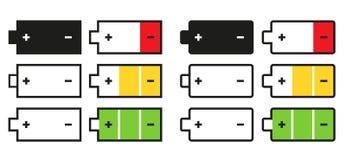 Uppsättning av 12 isolerade batterisymboler Arkivbild