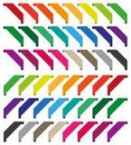 Uppsättning av isolerade färgrika band Fotografering för Bildbyråer