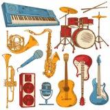 Uppsättning av isolerade färgrika musikinstrument Royaltyfri Foto