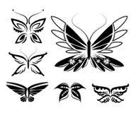 Uppsättning av isolerade fjärilskonturer Arkivfoto
