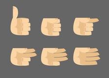 Uppsättning av isolerade gester för symboler händer Arkivfoto