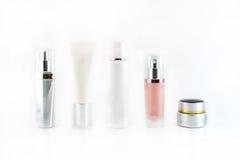 Uppsättning av isolerade kosmetiska produkter Royaltyfri Foto
