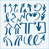 Uppsättning av isolerade pilsamlingen för hand den teckning på det fodrade arket Arkivbild