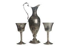 Uppsättning av isolerade pläterade bägare för tappning silver Royaltyfria Bilder