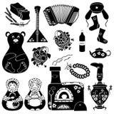 Uppsättning av isolerade ryska symboler Arkivbild