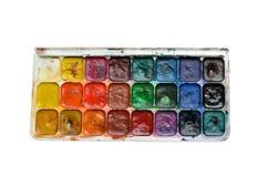 Uppsättning av isolerade vattenfärgmålarfärger arkivbilder