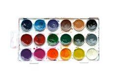 Uppsättning av isolerade vattenfärgmålarfärger arkivfoton
