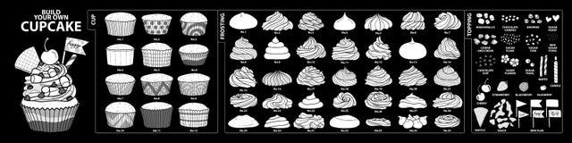 Uppsättning av isolerade vita konturkoppar, glasyr på kaka och toppningar för Arkivbild