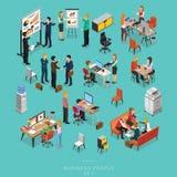 Uppsättning av isometrisk teamwork för affärsfolk som i regeringsställning möter arkivfoton