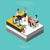 Uppsättning av isometrisk teamwork för affärsfolk som i regeringsställning möter uppsättning B vektor illustrationer