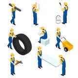 Uppsättning av isometriska arbetare, byggnadsarbetare, byggmästare i formen Folk som är isometriskt för rengöringsdukdesign också stock illustrationer