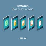 Uppsättning av isometriska batterisymboler för färg med mobiltelefoner Royaltyfri Bild