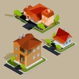 Uppsättning av isometriska bostads- hus för vektor, stugor vektor illustrationer