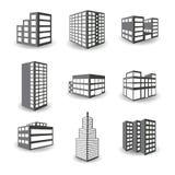 Uppsättning av isometriska byggnadssymboler för vektor på vit bakgrund stock illustrationer