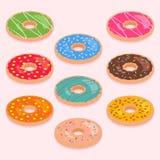 Uppsättning av isometriska donuts Royaltyfri Fotografi