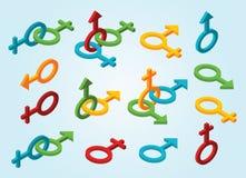 Uppsättning av isometriska genussymboler Arkivbild