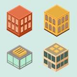 Uppsättning av 4 isometriska hus i plan stil Arkivfoton