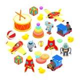 Uppsättning av isometriska leksaker Arkivbilder
