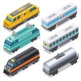 Uppsättning av isometriska lokomotiv och Waggons stock illustrationer