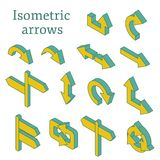 Uppsättning av isometriska pilar Arkivfoto