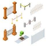 Uppsättning av isometriska staket och häckar för vektor Arkivbilder