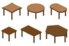 Uppsättning av isometriska tabeller Arkivfoto