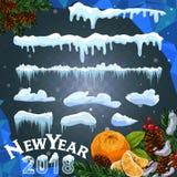 Uppsättning av istäcken Snödrivor istappar, beståndsdelvinterdekor Garneringsats för nytt år för website Isolerad snölockuppsättn Royaltyfri Foto