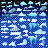 Uppsättning av istäcken Snödrivor istappar, beståndsdelvinterdekor Garneringsats för nytt år för website Isolerad snölockuppsättn Arkivfoton