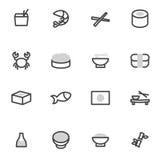 Uppsättning av japansk kokkonst för vektorsymbolsbeståndsdelar, sushi, rullar, skaldjur och asiatmat Arkivfoton