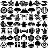 Uppsättning av japanska designsymboler tecknade handillustrationer Arkivbilder