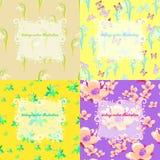 Uppsättning av jasmin, fjäril, lilja, gul snödroppe för ett kort Vec Royaltyfri Bild