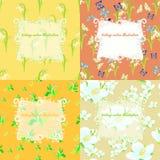 Uppsättning av jasmin, fjäril, liljekonvalj, sömlös snödroppe Arkivfoton